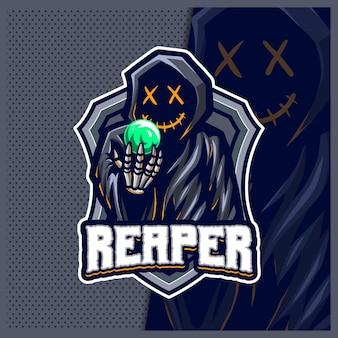 Ilustrações do design do logotipo do mascote do grim reaper hood esport