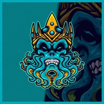 Ilustrações do design do logotipo do mascote do kraken devil king