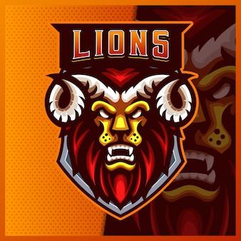 Ilustrações do design do logotipo do mascote lion horn