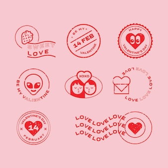 Ilustrações do dia dos namorados e elementos tipográficos emblemas de selos postais