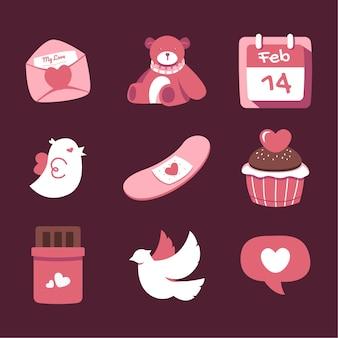 Ilustrações do dia dos namorados para ícones e adesivos