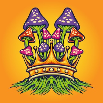 Ilustrações do king mushrooms oyster vector para o seu trabalho logotipo, t-shirt da mercadoria do mascote, adesivos e designs de etiquetas, cartazes, cartões comemorativos anunciando empresas ou marcas.
