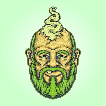Ilustrações do mascote de vape da cabeça