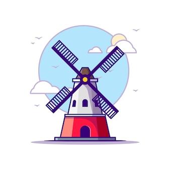 Ilustrações do moinho de vento. branco do conceito dos marcos isolado. estilo flat cartoon