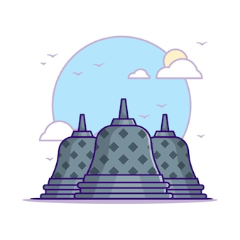 Ilustrações do templo de borobudur. branco do conceito dos marcos isolado. estilo flat cartoon