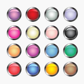 Ilustrações do vetor de botões de vidro brilhantes para ícones.