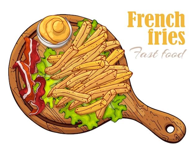 Ilustrações do vetor no tema do fast food: batatas fritas em uma placa.