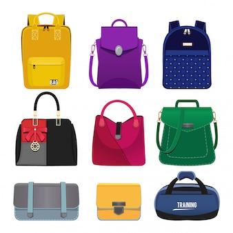 Ilustrações dos desenhos animados de bolsas das mulheres. conjunto de fotos de moda isolar