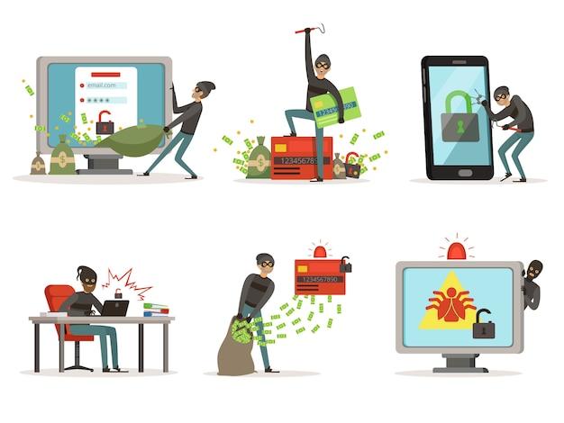 Ilustrações dos desenhos animados de hackers da internet. quebrando diferentes contas de usuário ou sistema de proteção bancária