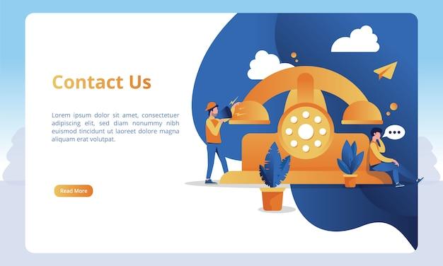 Ilustrações e chamadas telefônicas para entrar em contato conosco para obter modelos de página de destino