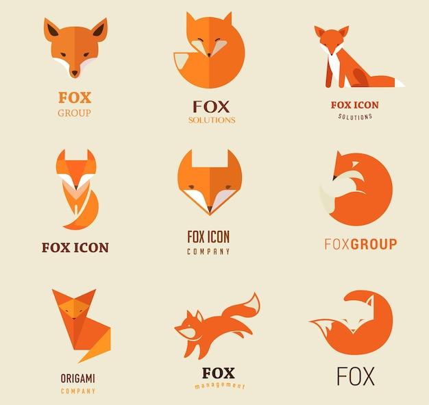 Ilustrações e elementos dos ícones da fox