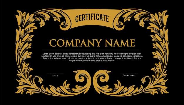 Ilustrações elegantes da moldura dourada do certificado