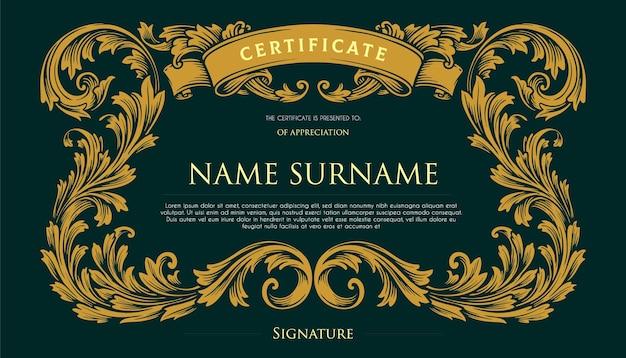 Ilustrações elegantes do certificado vintage swirls design