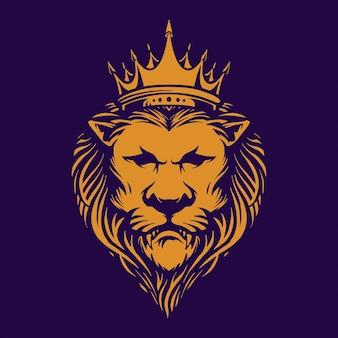 Ilustrações elegantes do logotipo da lion king royal company