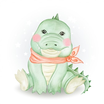 Ilustrações em aquarela adorável bebê crocodilo