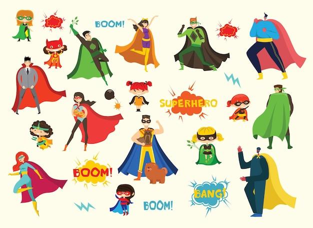 Ilustrações em design plano de super-heróis masculinos e femininos em trajes de quadrinhos engraçados