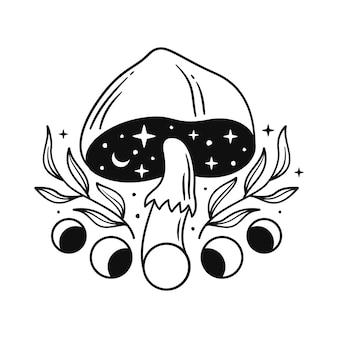 Ilustrações em preto e branco com cogumelos mágicos e fases da lua