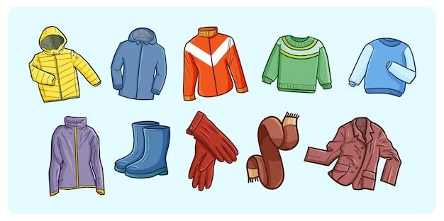 Ilustrações engraçadas e fofas de doodle de guarda-roupa de inverno