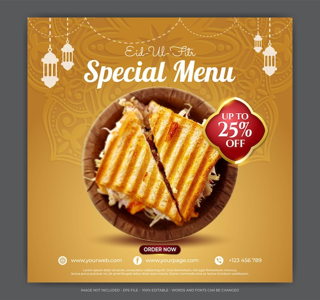 Ilustrações especiais de banner de mídia social do menu de comida eid ul fitr