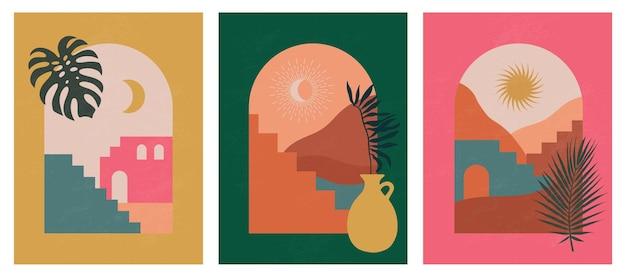 Ilustrações estéticas abstratas modernas e decoração de parede em estilo boêmio