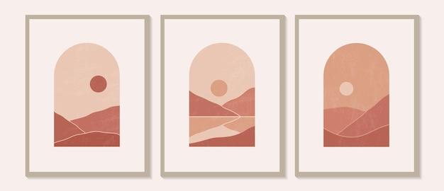 Ilustrações estéticas de paisagens montanhosas contemporâneas modernas e minimalistas