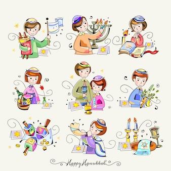Ilustrações felizes da etiqueta da arte de grampo de hanukkah
