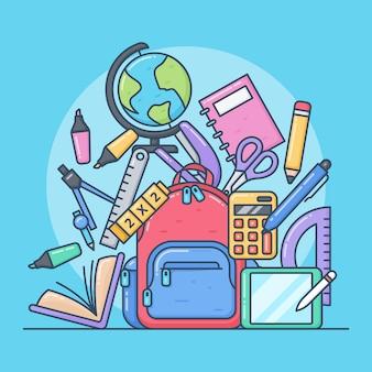 Ilustrações fofas de equipamento escolar