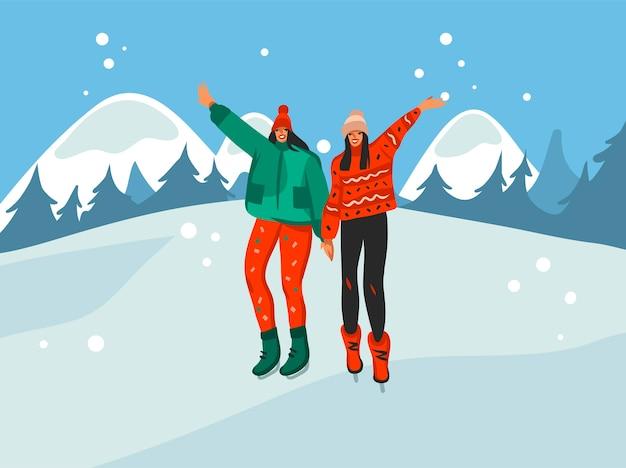 Ilustrações fofas de meninas felizes de natal caminhando juntas isoladas na paisagem de inverno