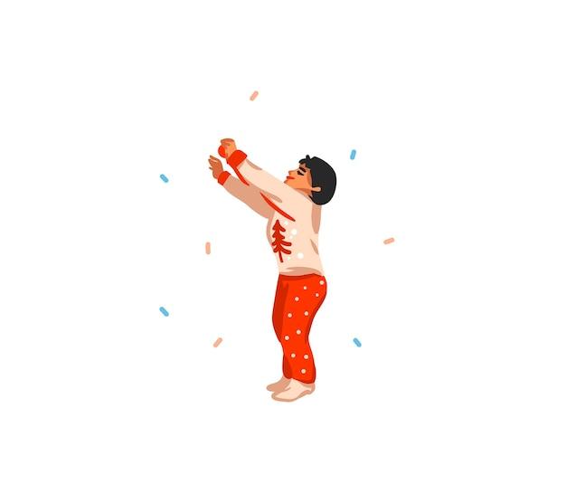 Ilustrações fofas de menino preparando árvore de natal isolada