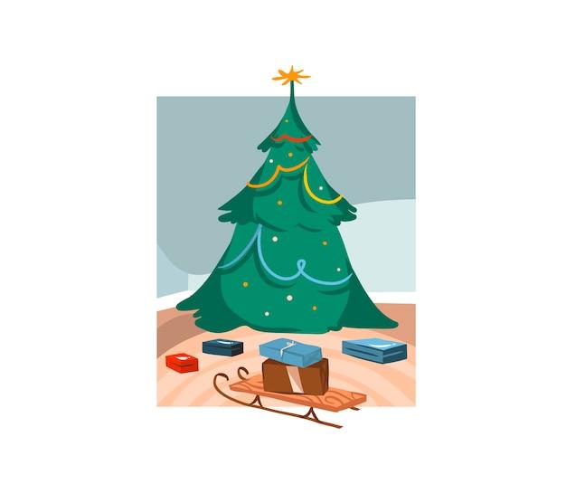 Ilustrações fofas de uma grande árvore de natal decorada e caixas de presente internas isoladas