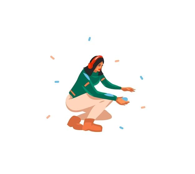 Ilustrações fofas do homem moderno de natal brincando isolado
