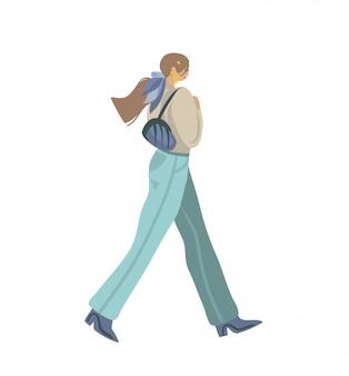 Ilustrações gráficas abstratas de estoque mão desenhada com jovem personagem feminina no estilo de moda de rua usam andando na rua em fundo branco