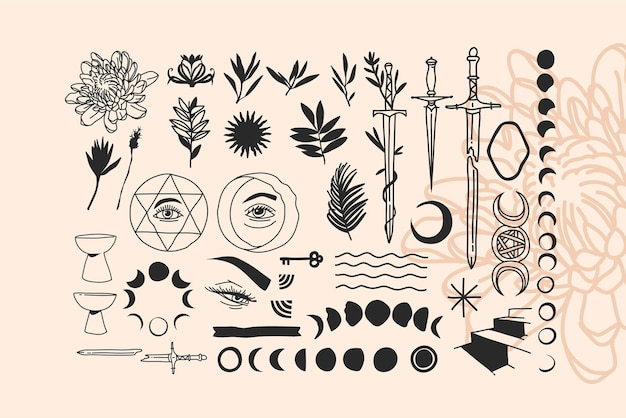 Ilustrações gráficas abstratas desenhadas