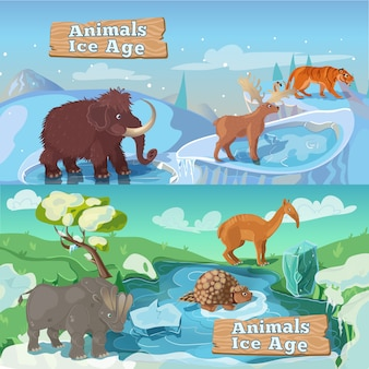 Ilustrações horizontais de animais da era do gelo