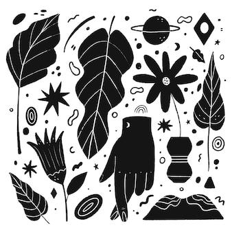 Ilustrações incolores em design plano