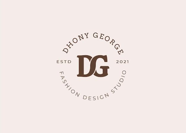 Ilustrações iniciais do modelo de design de logotipo de carta dg