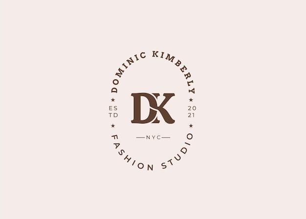 Ilustrações iniciais do modelo de design de logotipo de letra dk