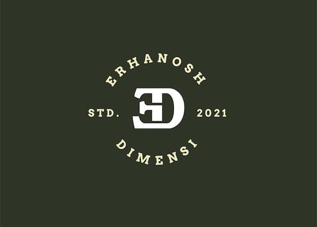 Ilustrações iniciais do modelo de design de logotipo de letra ed