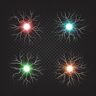 Ilustrações isoladas de bolas de fogo elétricas coloridas