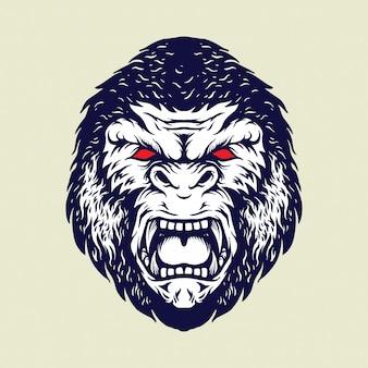 Ilustrações isoladas de cabeça de gorila irritado