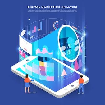Ilustrações isométricas conceito de negócio, análise de trabalho em equipe, marketing digital Vetor Premium