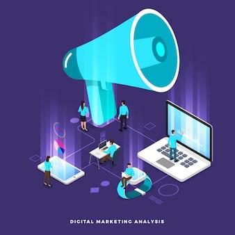 Ilustrações isométricas conceito de negócio, análise de trabalho em equipe, marketing digital