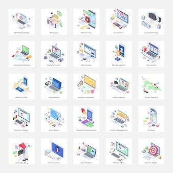 Ilustrações isométricas da web