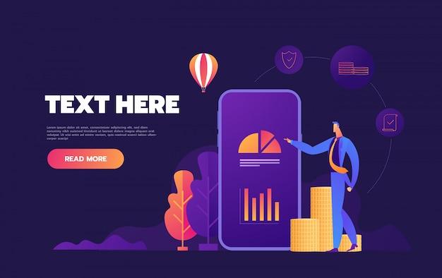 Ilustrações isométricas de aplicativo móvel de negócios sobre fundo roxo