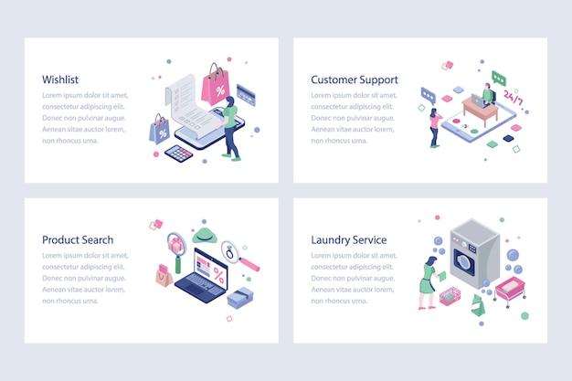 Ilustrações isométricas de compras on-line