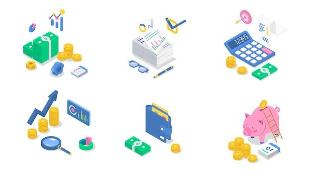 Ilustrações isométricas de contabilidade