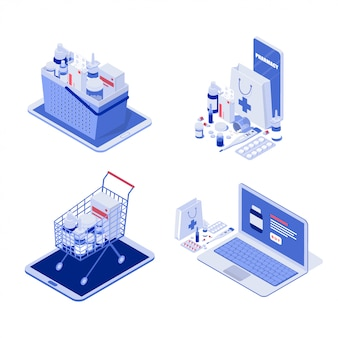 Ilustrações isométricas de farmácia on-line