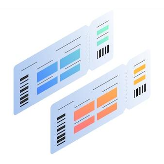 Ilustrações isométricas de passagem de modelo de bilhete de bordo