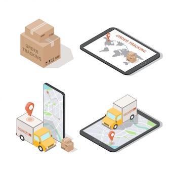 Ilustrações isométricas de rastreamento e entrega de pedidos