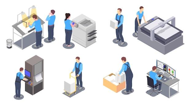 Ilustrações isométricas de serviço de impressão